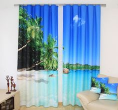 Zasłony 3D dekoracyjne w kolorze niebieskim z morzem i palmami