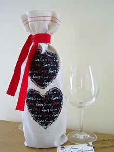 Calico Fabric Wine Bottle Cover Gift Bag by ArabellaBlossoms, $14.00