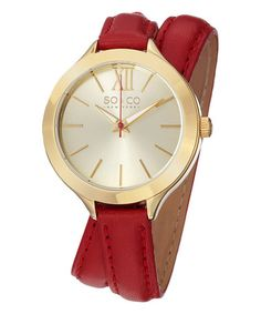 Goldtone & Red Madison Leather-Strap Wrap Watch by SO & CO #zulily #zulilyfinds