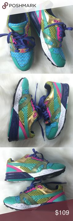 PUMA  TRINOMIC MULTICOLOR ATHLETIC SHOES, 7.5 Great pre-owned condition. Minor wear/tear and some random scuffing.  Overall very nice condition!  Awesome colors!  A1220THY16P Puma Shoes Athletic Shoes