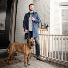Trench Style #dogwalking in a #cavalresi #trenchcoat #samplesale #eiveydotca #menswear #spring2017 #shop #buyandsell