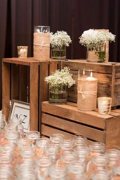 Essentials for a #rustic wedding ... burlap baby's breath and mason jars {Ben Elsass Photography}