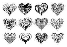 Set di 12 cuori tatuaggio, immagine vettoriale
