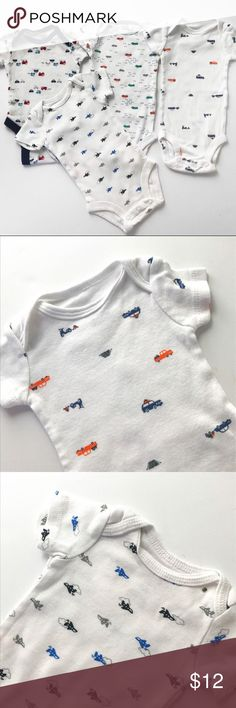 Transportation Onesie Bundle #Bundle of Newborn #boys Onesies, featuring #airplanes #cars #firetrucks. All items are size NB, in VG or EUC. Carter's One Pieces Bodysuits