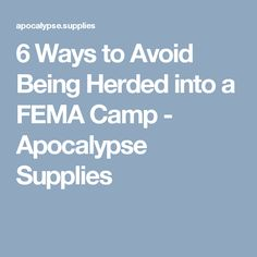 6 Ways to Avoid Being Herded into a FEMA Camp - Apocalypse Supplies