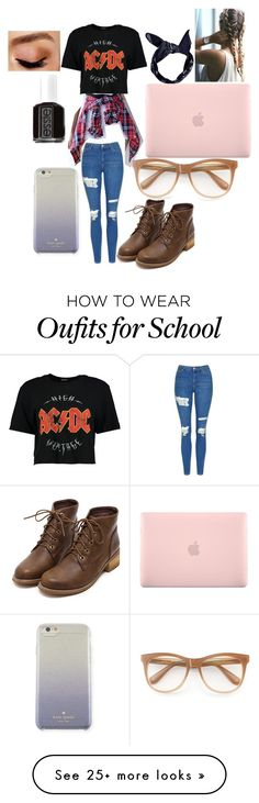 """""""School"""" by mgarrison41 on Polyvore featuring Boohoo, Topshop, Wildfox, Kate Spade, Incase, Essie and Avon"""