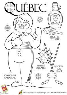 Coloring page / drawing child Québec Canada rnrnSource by French Teacher, Teaching French, Colouring Pages, Coloring Books, Province Du Canada, Quebec Winter Carnival, Carnival Crafts, French Education, Core French