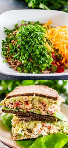 These Chicken Salad Sandwiches are loaded with the best ever chicken salad made with healthy ingredients and topped with guacamole.