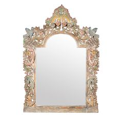 Carved wood painted mirror frame with floral patterns and birds.  One of a kind mirror frame from North India.