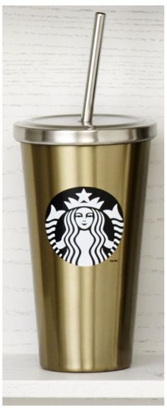 Stainless steel Cold Cup tumbler with Siren logo, stainless steel straw and warm gold finish. #Starbucks #DotCollection