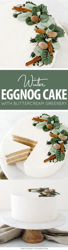 Rich eggnog cake with hints of cinnamon and nutmeg paired with a creamy eggnog buttercream and topped with buttercream greenery perfect for the holidays. Christmas Sweets, Holiday Baking, Christmas Desserts, Christmas Baking, All Things Christmas, Holiday Fun, Christmas Recipes, Christmas Time, Cupcake Recipes