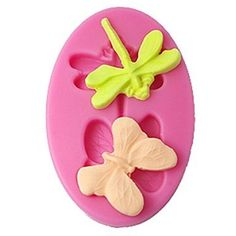 qinxi Silicone Fondant Mold Butterfly And Dragonfly Chocolate Mould Color Pink => You can get more details here : Candy Making Supplies