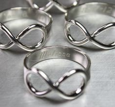 Infinity Ring, Engraved, Sterling, Silver, Knot, Personalized, Jewelry. $80.00, via Etsy.