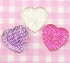 Extra large and sparkling effect hearts in hot pink, silver and purple Flat Back #cabochons. #DIY