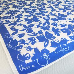 Vera scarf with blue and white butterflies!