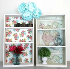 Repurposed Drawers to Decoupage Shelves - Girl in the Garage® Repurposed drawer shelves - DIY furnit Decoupage Drawers, Decoupage Paper, Napkin Decoupage, Drawer Shelves Diy, Drawer Ideas, Hanging Jars, Painted Barn Quilts, Transforming Furniture, Old Sewing Machines