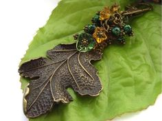Large leaf bag, handbag or purse charm with a very large bronze tone turning leaf charm and a selection of green and yellow glass flowers and green mottled glass beads. Perfect for any season, especially autumn. Please take care with glass beads, they. Glass Flowers, Beautiful Gifts, Memorable Gifts, Textile Art, Glass Beads, Jewelry Making, Bronze, Leaves, Charmed