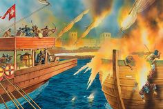The Arabs had first experienced Greek Fire at the climax of their first siege of Constantinople in 678, when their fleet was scattered and destroyed thanks to this Byzantine secret weapon. Art by Peter Dennis