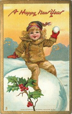 A Happy New Year. Antique Postcard.