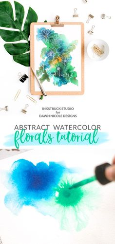 Learn to paint beautiful abstract watercolor florals in just 4 Easy Steps! Inkstruck Studio for Dawn Nicole Designs : Learn to paint beautiful abstract watercolor florals in just 4 Easy Steps! Inkstruck Studio for Dawn Nicole Designs Abstract Watercolor Tutorial, Watercolor Flowers Tutorial, Step By Step Watercolor, Watercolor Projects, Easy Watercolor, Watercolour Tutorials, Watercolor Techniques, Watercolor Cards, Floral Watercolor