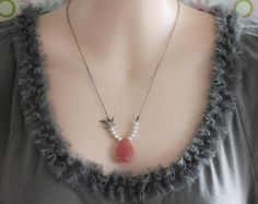 Pink Necklace Pink Stone Necklace Cherry Quartz and by madebymoe, $36.00