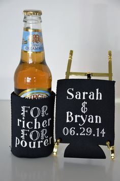 There are many ways to entertain guests at your wedding; we recommend a touch of humor & whimsy where appropriate...Not all #koozies are created equal. Cheap koozies are a petroleum product & when wet, make your hands smell like gasoline. Our hi-quality #koozies are perfect for #Rehearsal DinnerFavors, #OutdoorWeddingFavors, #FamilyReunionFavorss, #CorporateRetreatFavors & to add to your koozie kollection! Available on www.favorsyoukeep.com or call design team at 512.323.0600…
