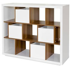 A Modern high-gloss white shelving unit with four pullout units separated by wooden shelves. Mirrored Furniture, Bespoke Furniture, Funky Furniture, Luxury Furniture, Bedroom Furniture, Walnut Shelves, Bookcase Shelves, Display Shelves, Shelf