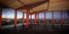 Jean Prouvé (1901-1984) Structure nomade, 1957 Composée de cinq béquilles asymétriques et vingt-cinq poteaux perforés,  l'ensemble en tôle d'acier pliée et laquée « Rouge Corsaire » 17,5 m x 9,77 m x 3,05 m
