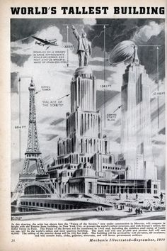 Mechanix Illustrated, World's Tallest Building: Palace of the Soviets vs. Empire State Building vs. Eiffel Tower, 1939 (via rosswolfe)