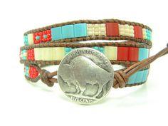 Tribal Beaded Leather Wrap Bracelet,  Turquoise & Red  Tila Beads, Triple  Wrap, Boho Jewelry