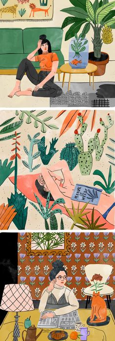 "Bodil Jane Illustrates Botanical Rooms I Want to Live In [ ""Illustrator Bodil Jane paints colorful rooms that I wish I could live in—cozy, patterned-filled spaces with a lot of plants."", ""Illustration ideas and inspiration Editorial Illustration, Woman Illustration, Cactus Illustration, Watercolor Illustration, Watercolor Flower, Plants Watercolor, Poster S, Illustrations And Posters, Floral Illustrations"