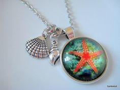 Sea Necklace, Starfish Necklace, Starfish Charm, Starfish Jewelry, Glass Cabochon Necklace, Sea Jewelry, Photo Jewelry, Beach Jewelry