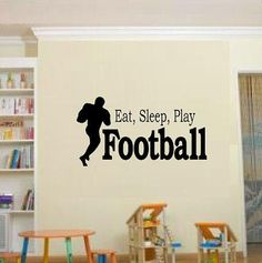 vinyl wall decal quote Eat sleep play football kids nursery via Etsy