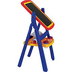 @Overstock - Crayola Children's Qwik Flip 2-sided Easel - Encourage your child's artistic side with this colorful two-sided Crayola easel. The board rotates 360 degrees for easy access to the magnetic dry-erase board and chalkboard. When your child is finished creating, simply fold the easel up for storage.  http://www.overstock.com/Sports-Toys/Crayola-Childrens-Qwik-Flip-2-sided-Easel/4825723/product.html?CID=214117 $46.37