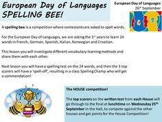 Spelling Bee PowerPoint and lesson plan to cover one or two lessons. In our school we celebrate the Euro Day of Langs with a Spelling Bee for Year 7 of wor. European Day Of Languages, World Languages, Foreign Languages, Spelling Bee, French Words, Teaching Resources, Competition, Knowledge, How To Plan