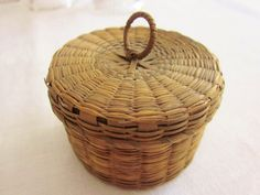 Vintage Basket Hand Made Sweet Grass woven basket with lid Tiny Size
