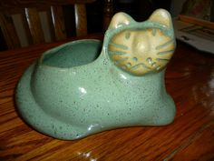 Green Speckled Kitty Cat Planter