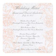 Summer Wedding Menu Coral Gray Floral Vintage Wedding Menu Card