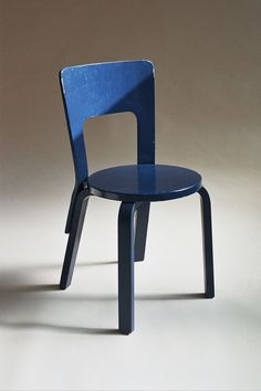 Blue painted chair by Alvar Aalto Finmar