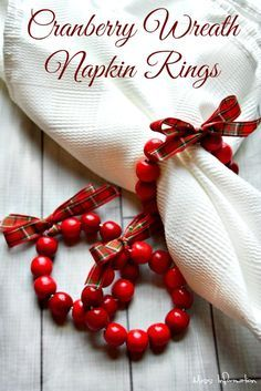 These Cranberry Wreath Napkin Rings are so cute and easy to make to dress up you. : These Cranberry Wreath Napkin Rings are so cute and easy to make to dress up you. Noel Christmas, All Things Christmas, Christmas Crafts, Christmas Decorations, Xmas, Christmas Clothing, Christmas Parties, Christmas Ideas, Christmas Napkin Folding