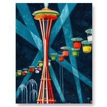 Vintage Retro Kitsch Modern Space Needle Postcard by seemonkee