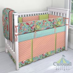 Crib bedding in Solid Light Coral, Coral and Teal Floral, Solid Seafoam Aqua, Light Coral Wave, Solid Light Lime, Solid Seafoam Aqua Minky. Created using the Nursery Designer® by Carousel Designs where you mix and match from hundreds of fabrics to create your own unique baby bedding. #carouseldesigns