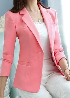 Single Button White Blazer Feminino Casual Slim Coat Fashion Short Brief Blazer Femme OL Comfortable Jacket Casual Blazer Women, Blazer Jackets For Women, Blazers For Women, Coats For Women, Clothes For Women, Formal Jackets For Women, Blue Blazers, Fashion Tights, Blazer Fashion