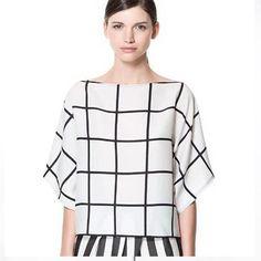 2015 Newest Design blusas femininas Women Fashion Plaid O-Neck Chiffon Blouses Classical white lace blouse vestidos femininos