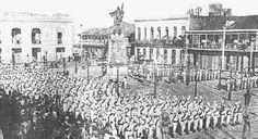 El Batallón Alfonso XIII en formación de parada