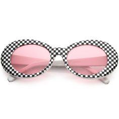 7be0d42e59354 Retro 1990 s Rad Clout Goggle Checkered Colored Lens Oval Sunglasses C488
