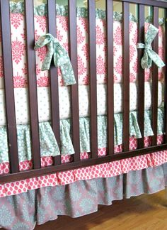 Custom Coral & Seafoam Custom Crib Bedding Set