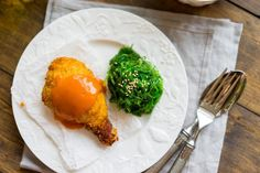 Breaded chicken with carrot sauce and seaweed