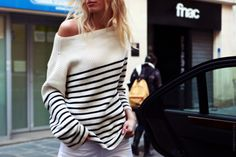 off the shoulder striped sweater #oversized #details #simple #effortless #weekend #casual #relaxed #chic #comfy #outfit #clothes #style