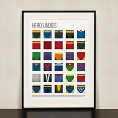 Colourful Superhero Undies -- great for a boys bathroom print.